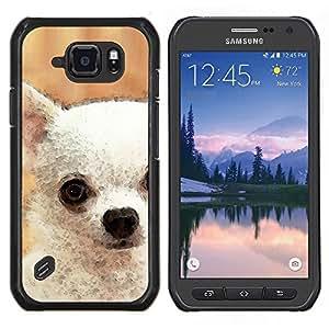 EJOOY---Cubierta de la caja de protección para la piel dura ** Samsung Galaxy S6Active Active G890A ** --Chihuahua blanco del arte Pintura del perro