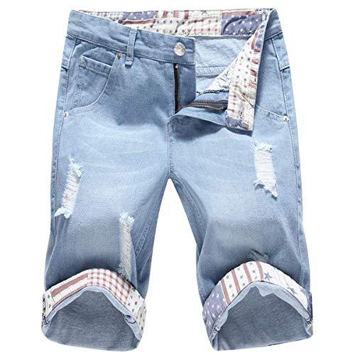 Jeans Corti Da Uomo Pantaloncini Estate Vintage Casual Fashion Giovane Di Distrutti Pantaloni Bermuda Pocket Style Hellblau