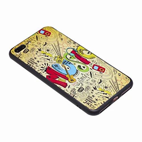 Yiizy Hülle Apple IPhone 7 Plus Schale, Cartoon Musik Ultra Slim Klar Transparent handy taschen Schutzhülle Anti-Kratzer Weich TPU Silikon Cover Flexibel Gummi Haut Bumper Leicht Schutz Kristall Langl