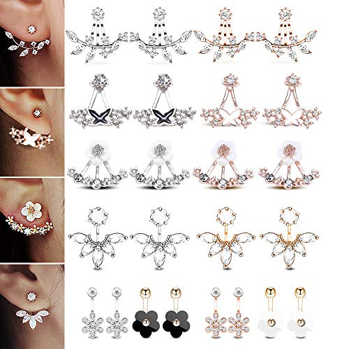 12 Pairs Fashion Silver Plated Leaf Feather Flower Crystal Ear Jacket Front and Back Stud Earrings for Women Girls Set -