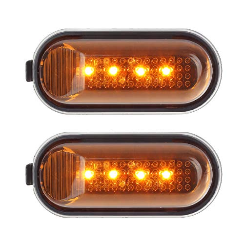 (Partsam Pair Amber Yellow Side Marker Turn Signal Fender Lights Assembly 4LEDs Replacement for Honda)