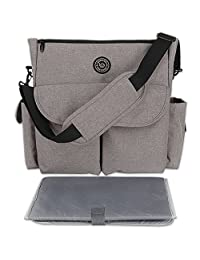"Lekebaby Diaper Bag Tote Handel with Changing Pad and Stroller Clip for Mom and Dad Polyester (14"" Length x 3.5""Wide x 13""Deep)"