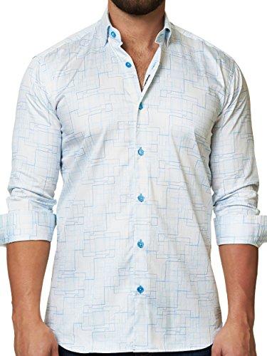 Egyptian Cotton Shirt (Mens Designer Dress Shirt - Stylish & Trendy- White - Tailored Fit)