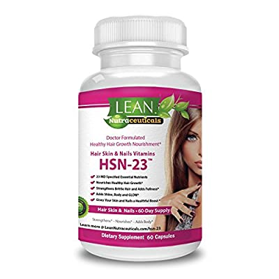 Healthy Hair Vitamins 60 Day Supply MD Formulated HSN-23 Hair Skin & Nails Vitamins for Men & Women - 7500 mcg Biotin, Nourishing Collagen & Hyaluronic Acid + Amino Acids - LEAN Nutraceuticals