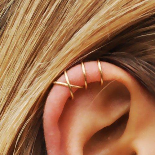 Set of 2 Ear Cuffs, Ear Cuff, Double Ear Cuff and Criss Cross Ear Cuff, No Piercing, Cartilage Ear Cuff, Simple Ear Cuff, Fake Cartilage Earring, 20 Gauge Gold Filled ()