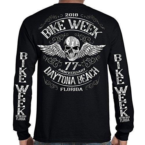 Biker Life USA 2018 Bike Week Daytona Beach Ascended Skull Long Sleeve T-Shirt (Daytona Bike Week 2018)