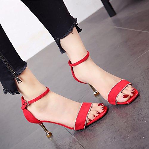 Toe Gamuza de Estilo gules Verano Sandalias Dama Alto y tacón Zapatos Sexy Europeo Fina y de Elegante YMFIE qTtZInZ