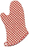 Phoenix 10-Inch Gingham Oven Mitts, Red, Package of 4