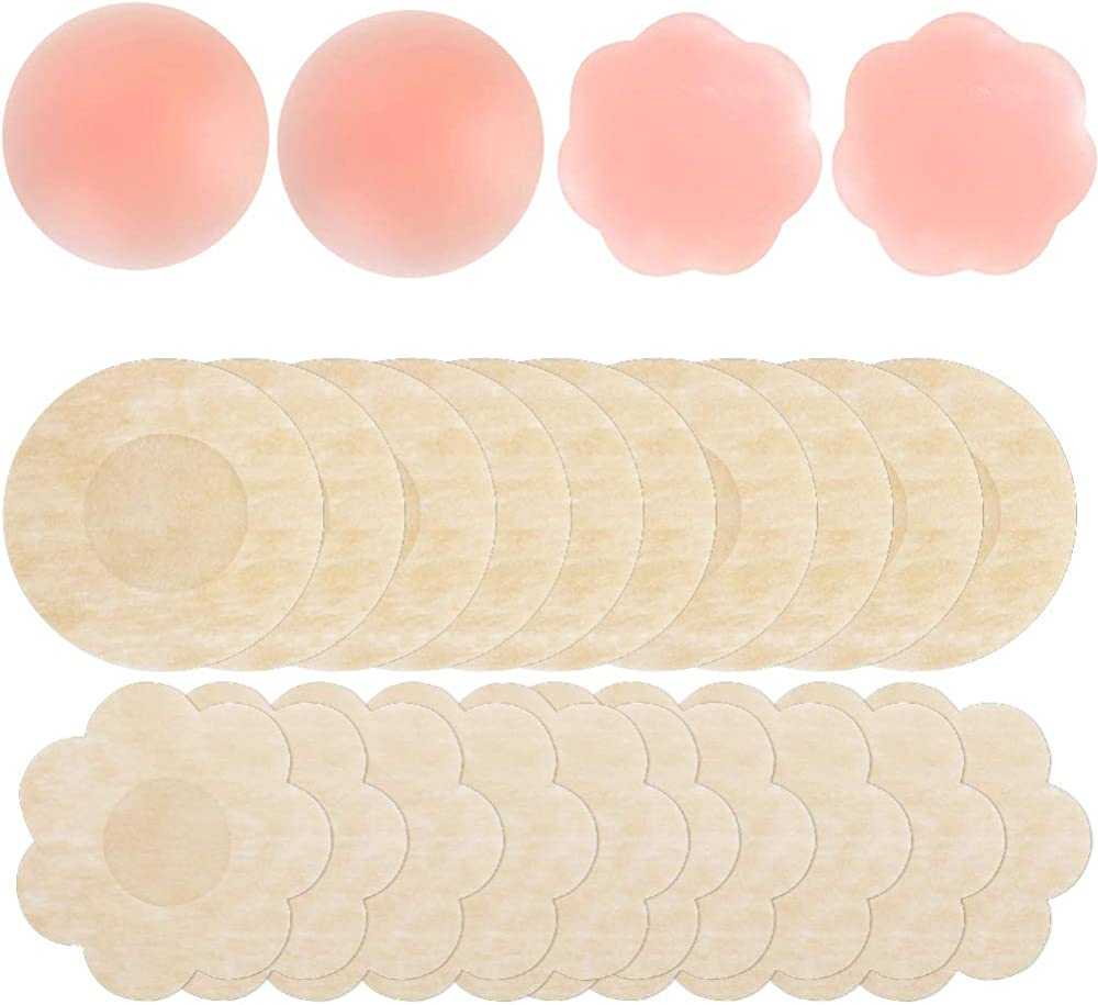 Flower Shape 2 Boxes-OneSize Tube top Women Silicone Nipple Covers Bra Reusable Adhesive Breast Sticker Petals Silicone Pasties Round 2 Boxes