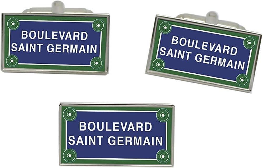 Giftshop UK Boulevard Saint Germain Rue Signe Rectangle Boutons Manchette et Cravate Lot de Broches