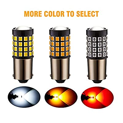 ANTLINE Newest 1156 LED Bulb Amber Yellow (2 Pack), 9-30V Super Bright 1600 Lumens 1141 1003 7506 BA15S 52-SMD LED Lamps with Projector for Replacement, Work as Turn Signal Blinker Side Marker Lights: Automotive