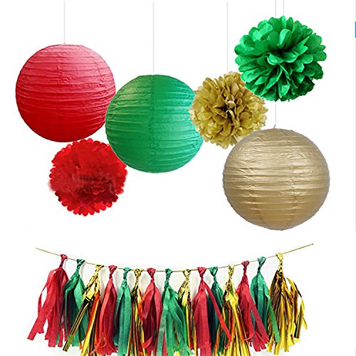 Christmas Sets For Party Supplies Tissue Paper Flower Pom Poms and Tissue Paper Tassels and Paper Lanterns for Birthday Wedding Party Decorations Christmas Paper Lanterns