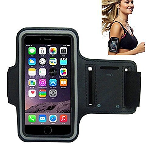 iPhone 6 Armband, Morris Water Resistant Sports Armband with Key Holder for iPhone 6, 6S (4.7-Inch), Galaxy S3/S4, iPhone 5/5C/5S, Bundle with Screen Protector (Black) (Black Cell Phone Wrap)