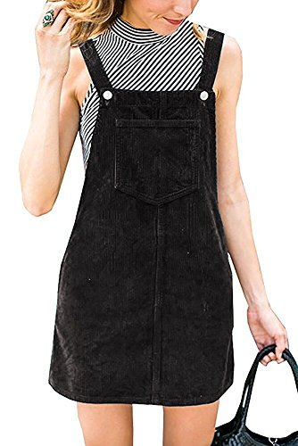 Annystore Womens Corduroy Suspender Skirt Mini Bib Overall Pinafore Dress Black M with ()