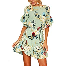 YOINS Women Floral Printed Dress Short Sleeve Mini Dress Casual Summer Pleated Dresses