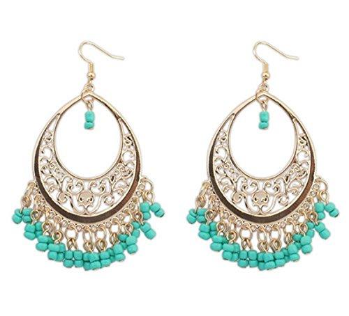 Green Beads Chandelier Earrings (HugeStore Women Ladies Summer Bohemia Tassel Beads Chandelier Drop Earrings Dangle Hoop Earrings Green)