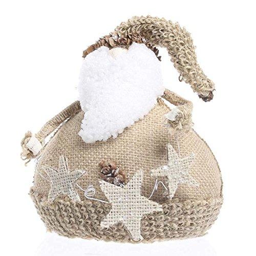 Homespun Santa - Factory Direct Craft Petite Roly Poly Burlap Santa Sitter for Gifting, Displaying and Designing