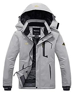 Wantdo Men's Waterproof Fleece Ski Jacket Windproof Rain Jacket Winter Coat Grey XL (B07B2TZXN1) | Amazon price tracker / tracking, Amazon price history charts, Amazon price watches, Amazon price drop alerts