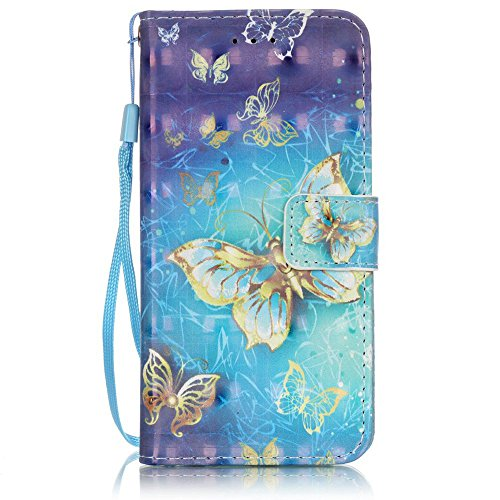 Vintage Football Daisy Canvas (iPhone 6S Case, iPhone 6 Case, Voanice iPhone 6S Wallet Case With Card Slot Holder and Kickstand Shockproof PU Leather Folio Flip Cover with Wrist Strap for Apple iPhone 6S/6 4.7&Stylus-Blue Butterfly)