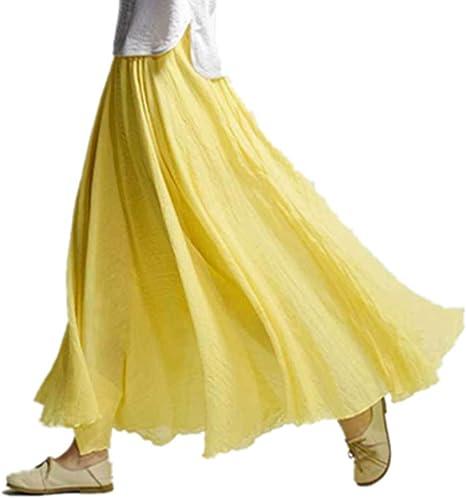 MORBUY Falda Larga Mujer, Otoño Algodón y Lino Color Sólido Cintura Elástico Estilo Nacional Falda: Amazon.es: Ropa y accesorios