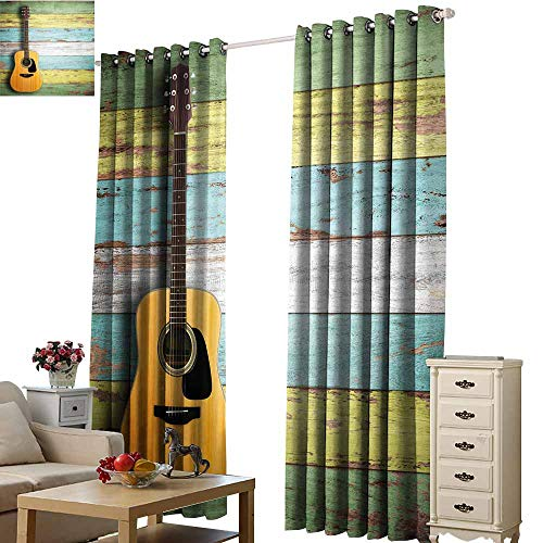 Warm Family Music Decor Durable Curtain Acoustic Guitar on Colorful Painted Aged Wooden Planks Rustic Country Decor 70%-80% Light Shading, 2 Panels,W96 x L108 Multicolor