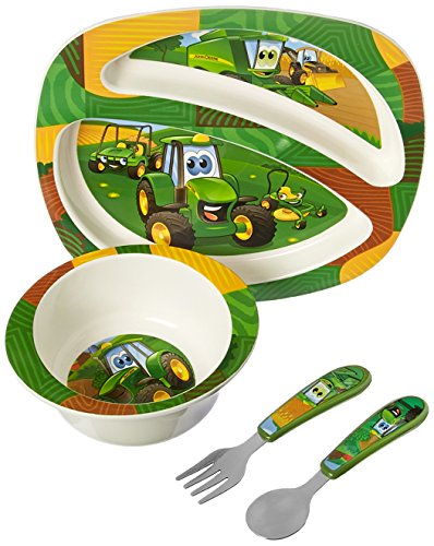 John Deere's Johnny Tractor and Friends Feeding 4 Piece Set, Green, Brown, Yellow, Blue, White, Red (John Deer Birthday)