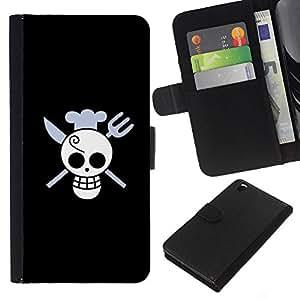 KLONGSHOP // Tirón de la caja Cartera de cuero con ranuras para tarjetas - Cráneo divertido del cocinero de la Muerte - HTC DESIRE 816 //