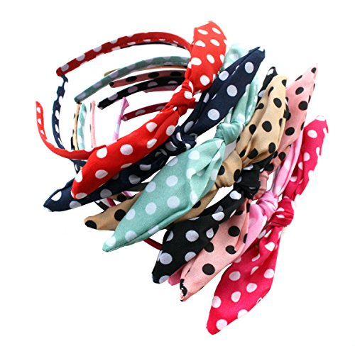 Pack of 9 Polka Dot Bow Style Tie Headband Hair Hoop - Fashion Fabric Covered Rabbit Ears Hair Band for Women -