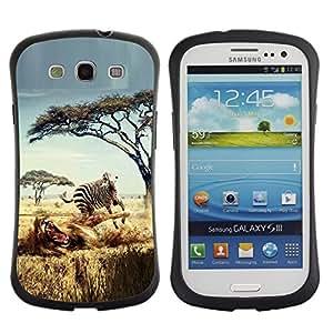 LASTONE PHONE CASE / Suave Silicona Caso Carcasa de Caucho Funda para Samsung Galaxy S3 I9300 / Safari Zebra Lion Africa Wild Animal Trees