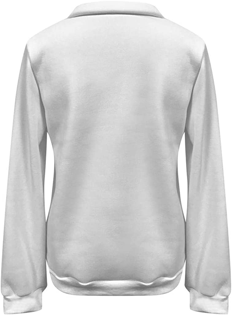 Moudozsdi Women Casual 1//4 Zip Sweatershirt Long Sleeve Letter Print Stand Collar Pullover Tunic Tops