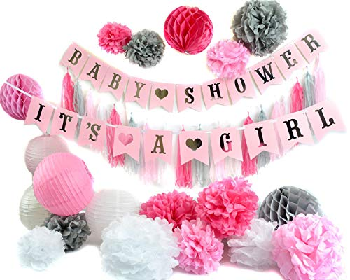 Unique Pink and Silver Baby Shower Party Decorations Set! Its A Girl! Baby Shower Banners, Flower Pom Poms, Tassles, and Lanterns Included in Beauiful Decor to Celebrate Your Precious Baby Princess!