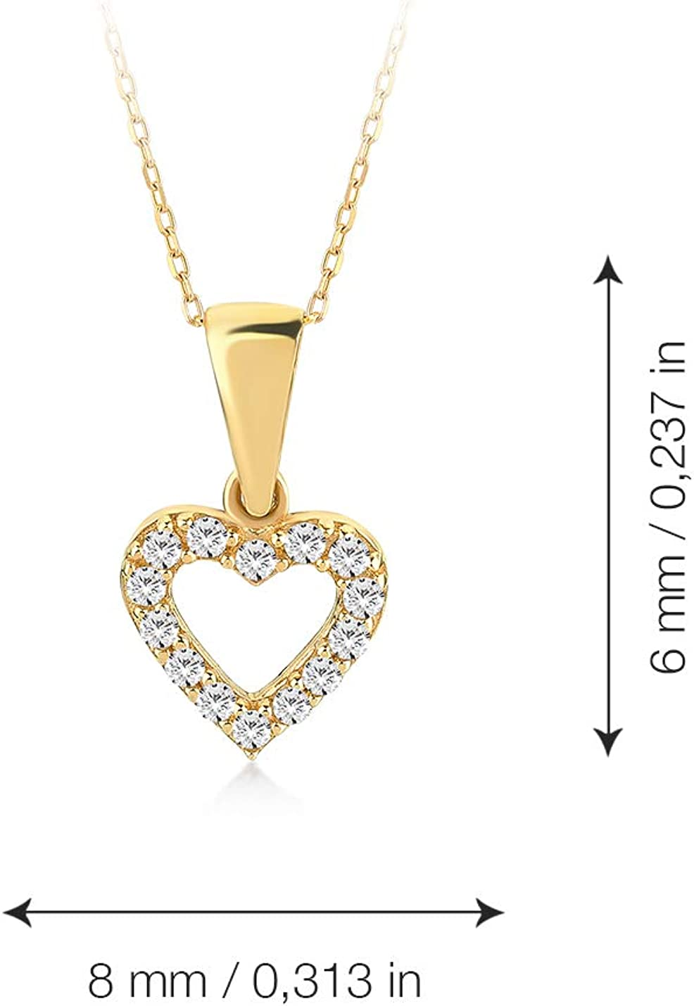14k Yellow White Rose Gold Flower in Heart Pendant Height 20 MM Width 18 MM