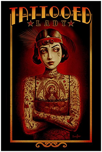 Tattoo Lady by Marcus Jones Carny Freakshow Vintage Pin-up Girl Art Poster ()