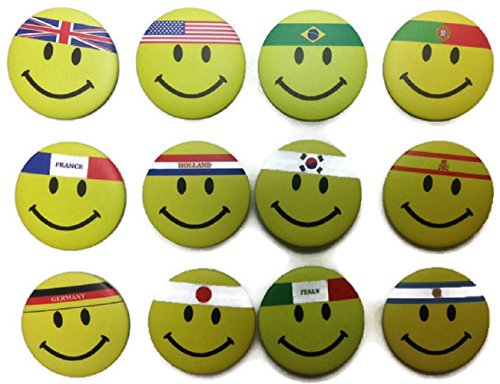 Chic Set 1.25 Inches 12 National Flag Emoticon Badge Button Pin