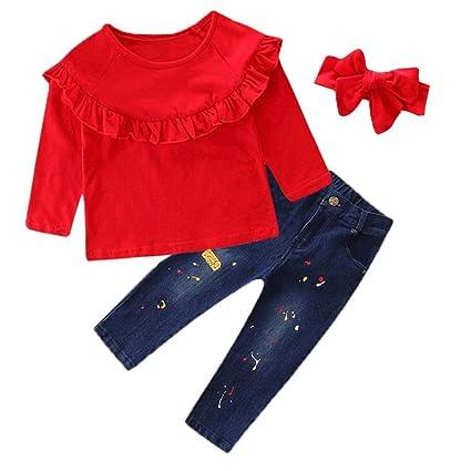 Abiti Cerimonia Bambino Abbigliamento Neonato 6-9 12-18 Mesi Pantaloni  Ragazze Jeans Bambino Bebè Ragazze Solid Top Stampa Jeans Denim Pantaloni  Abiti Set  ... 2c61e204ad5