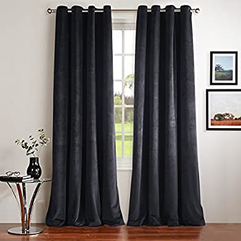 Thermal Insulated Velvet Blackout Curtains   Classic Velvet Woven Home  Theater Grommet Top Blackout Drapes By NICETOWN (2 Panels, W52xL84 Inch,  Grey)
