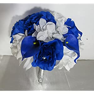 Horizon Royal Blue White Rose Calla Lily Bridal Wedding Bouquet & Boutonniere 99