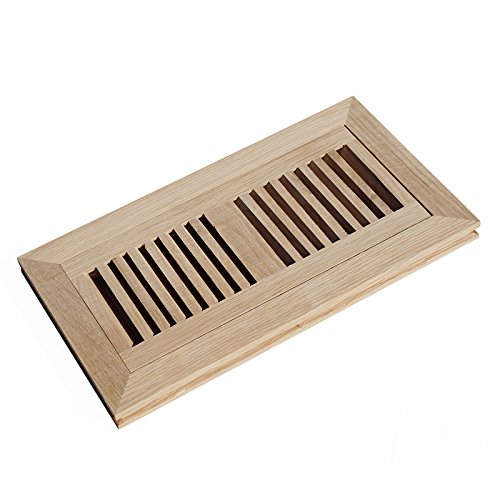 WELLAND Hardwood Flush Mount Floor Register Vent Unfinished, 4 inch x 10 inch, White Oak