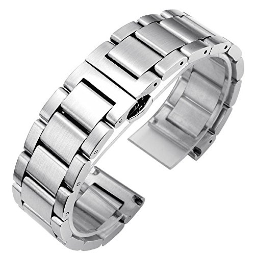 21mm Silver Brushed Stainless Steel Solid Link Wrist Watch Band Strap Bracelet Butterfly Buckle ()