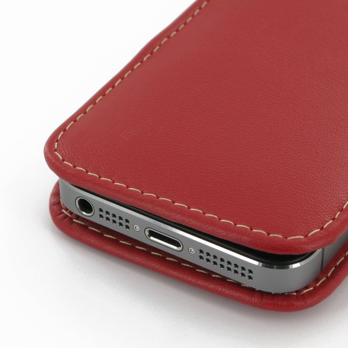 Apple iPhone 5s Leather Case / Cover (Handmade Genuine Leather) - Vertical Pouch Type (NO Belt Clip) (Red) by Pdair