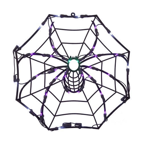 Kurt Adler UL 35-Light Spider Window Decoration - Halloween Spider Web Lights