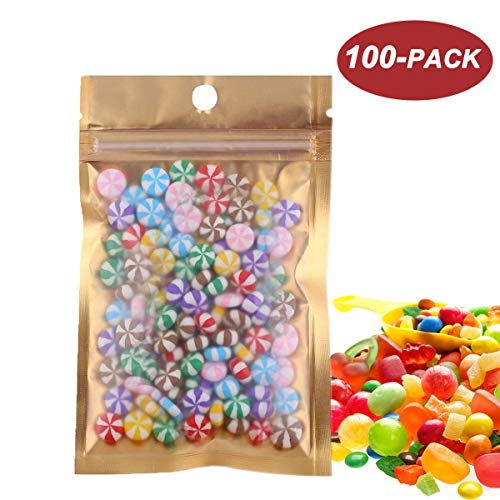 "Wekoil 100 Pcs Mini Mylar Bags Zipper Wrapper Plastic Vacuum Pouch Heat Sealable Bags Mini Ziplock Foil Bags For Food Storage Samples Coffee Candy Foil Lined Grip Seal Wrap 7.5x12CM/2.9""x4.7"""