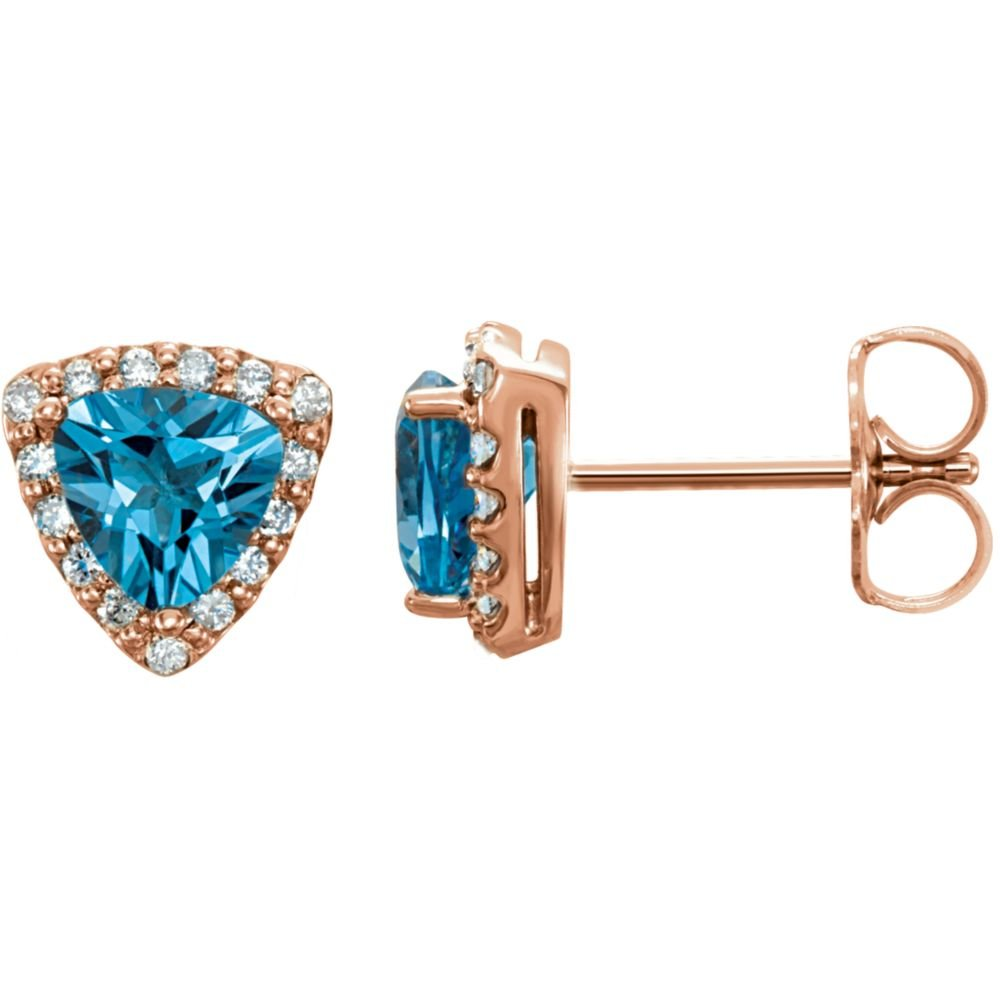 14k Rose Gold Swiss Blue Topaz & .08 CTW Diamond Earrings