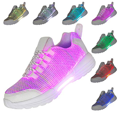 Fiber Optic LED Shoes Light Up Sneakers for Women Men with USB Charging Flashing Festivals Party Dance Luminous Kids Shoes (Best Shoes For Music Festivals)