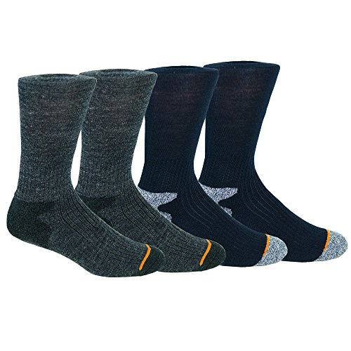 Weatherproof Men's Wool Blend Premium Crew Outdoor Socks, Blue / Gray, Shoe Size 6-12, 4 Pairs