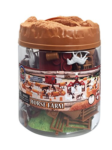 Sunny Days Entertainment Blue Ribbon Horse Farm Bucket (Assorted Mini-Figure Set - Horses, Horse Trailer, Jumping Fences, & More) Toy (Bucket Mini Set)