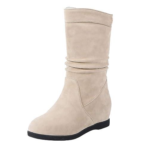 Logobeing Botas de Nieve Mujer Ocio Botas Medias Gruesas Planos Calzado de Punta Redonda con Parte Inferior Plataforma Zapatos Mujer: Amazon.es: Zapatos y ...