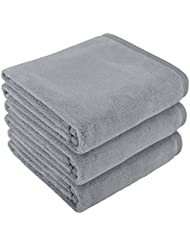 Mayouth Hair Towels Super Soft Absorbent Bath Towels Microfiber Towels Fast Drying Anti-Frizz for Long & Thick Hair (16inch X 32inch, gray 3-pack)