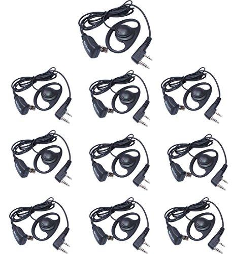 (Arama D Shape Ear Hook Earpiece for Kenwood HYT Puxing Wouxun Baofeng 2 way radio- 2 pin D Shape Ear Hook Headset with PTT and MIC for Linton Lt-2288 Lt-3107 Etc Walkie Talkie (J108K01)(10XPack))
