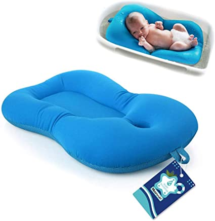 Baby Bather Infant Bath Pad, Moonvvin Floating Soft Baby Bath Pillow & Lounger Newborn Pad Tub Cushion (Blue)